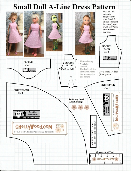 Image shows a Free printable sewing pattern for A-line dress to fit small dolls like Monster High dolls, Ever After High dolls, Stacie Dolls, La Dee Da dolls, Breyer Rider dolls, and Bratz dolls (among others).