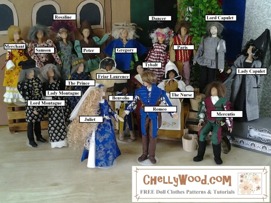 Image shows the cast of Romeo and Juliet With Dolls Stop Motion Video on YouTube which was written by William Shakespeare but produced by Chelly Wood. The dolls are all wearing handmade Renaissance costumes, and over the top of each doll it offers the name of a character from Romeo and Juliet, the play by William Shakespeare. The dolls stand side by side as if posing for the camera. Behind them is the set of Romeo and Juliet With Dolls, the stop-motion video which is theatrical in its set design and much like a graphic novel in its delivery. Visit ChellyWood.com for more information about this stop motion video.