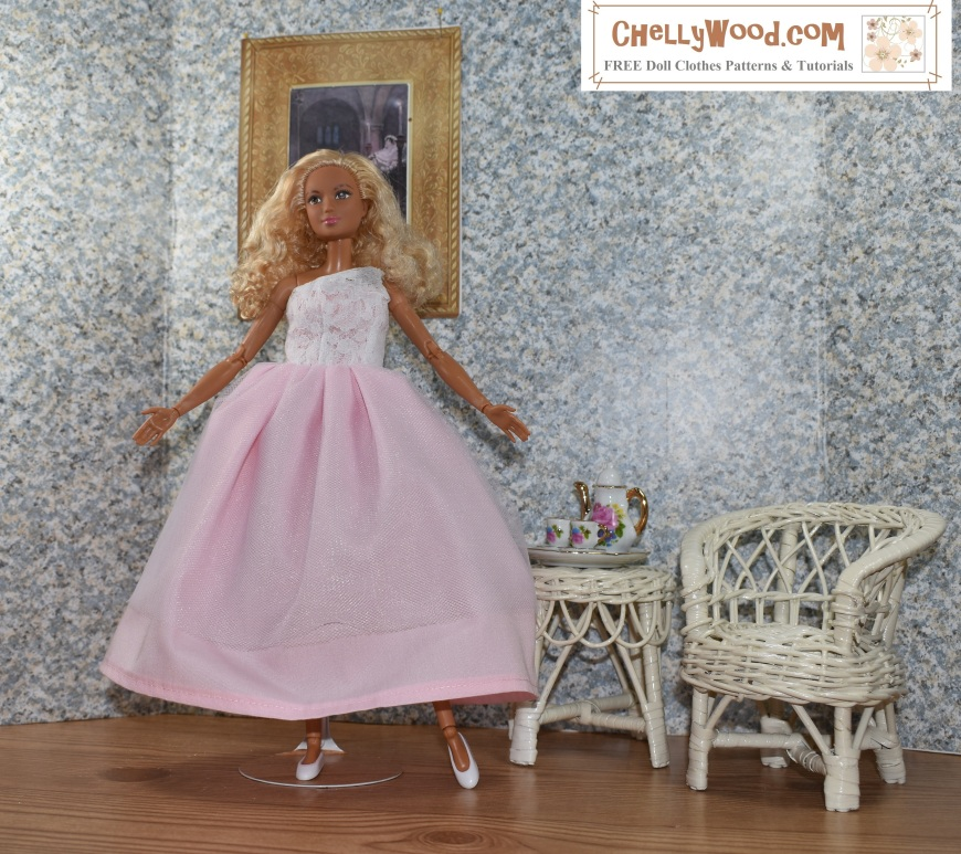 "Please visit ChellyWood.com for FREE printable sewing patterns for dolls of many shapes and sizes. Image shows a Made-to-Move Barbie wearing a hand-made quinceañera style ball gown with a lacy one-shoulder bodice. The doll stands in a 1:6 scale room complete with a painting on the wall, a wicker table, and a wicker chair. The wall paper has a speckled look to it. The floor of the doll's diorama looks like hard wood. Atop the wicker table is a porcelain tea set in 1:6 scale, with Barbie-pink flowers decorating it. The handles of the cups and teapot look like they are golden. The made-to-move Barbie poses with one leg extended and her toes pointed like a ballerina. Her arms are open wide, welcoming the viewer into her Barbie doll house. The overlay says, ""ChellyWood.com"" and below that, it says, ""FREE printable sewing patterns for dolls of many shapes and sizes."""
