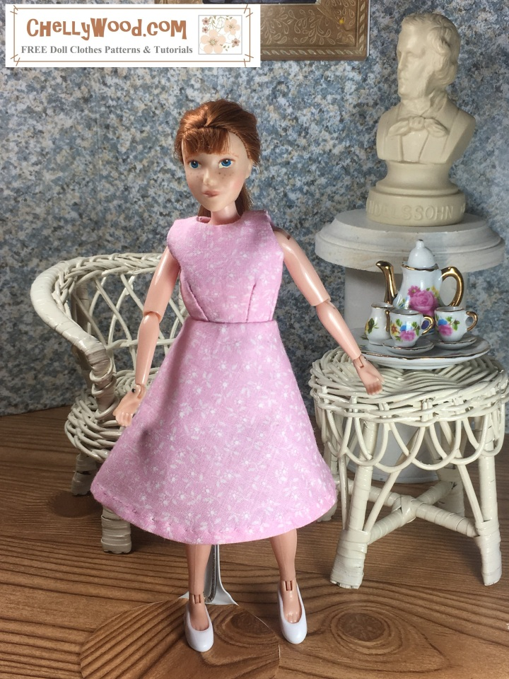 "Image shows 8"" Breyer Rider doll wearing an handmade A-line dress and standing in a 1:6 scale diorama that shows the bust of a musician, a classical painting, and is decorated with a wicker table and chair. On the table is a 1:6 scale porcelain tea set for little dolls. The 8"" Breyer Rider doll wears a dress that has been sewn by hand. Overlay offers the sewing tutorials and free doll clothes patterns website: ChellyWood.com and states that this website has free doll clothes patterns and tutorials for dolls of many shapes and sizes."