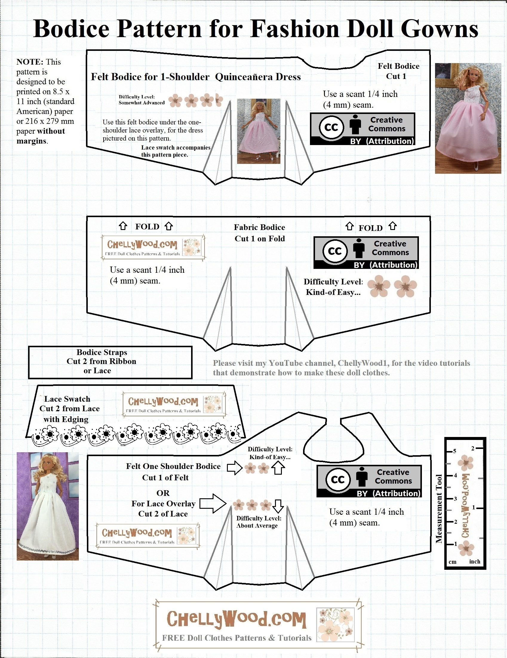 graphic regarding Barbie Dress Pattern Free Printable identified as Do-it-yourself #Quinceañtechnology Costume for Barbie #Dolls No cost Doll Clothing