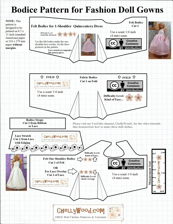 """Please visit ChellyWood.com for FREE printable sewing patterns for dolls of many shapes and sizes. Image shows a FREE Printable Sewing Pattern for Barbie Quinceañera Dress. The watermark on this fashion doll sewing dress pattern (ball gown pattern or wedding dress pattern or quinceañera pattern) says """"ChellyWood.com: free printable sewing patterns for dolls of many shapes and sizes."""" The pattern itself contains three different bodices, and each is marked with a difficulty scale in numbers of pink flowers (more flowers = a more difficult pattern; fewer flowers = an easier pattern to sew). As part of the pattern, a Mattel Made-to-Move Barbie doll is shown modeling the dresses that have been made by using this sewing pattern."""