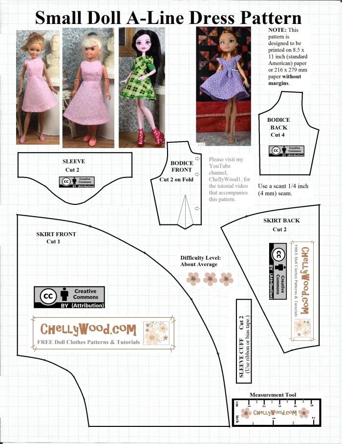 FREE #MonsterHigh #Dolls Dress Pattern @ ChellyWood.com |