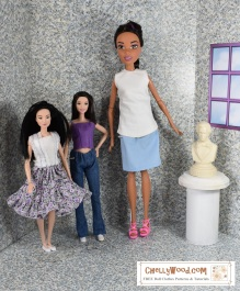"""Visit ChellyWood.com for FREE printable sewing patterns for dolls of many shapes and sizes. Image shows Mattel's Endless Hair Princess doll standing next to a fashionista tall barbie doll and a made to move """"regular"""" sized Barbie. The article which accompanies this photo describes the exact measurements of the Endless Hair Princess doll in comparison to the fashionista brand of tall barbies from Mattel. The site, ChellyWood.com offers tips and tutorials and free patterns for people who enjoy sewing dolls' clothes. This particular article is about comparing the different dolls' dimensions for the purpose of sewing clothing for them."""