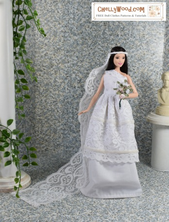 Please click here for free printable patterns and tutorials for making the bridal ensemble for fashion dolls: https://wp.me/p1LmCj-FG4