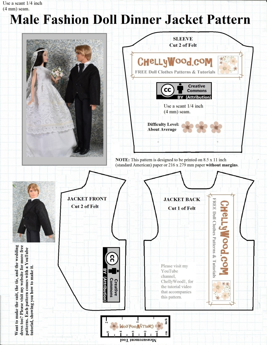 Please visit ChellyWood.com for free printable sewing patterns to fit dolls of many shapes and sizes. The image shows a FREE printable sewing pattern for Ken doll dinner jacket, coat, tux (also fits other male fashion dolls like Spin Master Jake and Ever After High boy dolls).