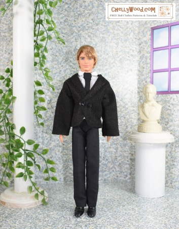 Please click on the following link to get all the free printable patterns and tutorials you'll need to make this outfit for male fashion dolls (posts on April 27, 2018): https://wp.me/p1LmCj-FGo