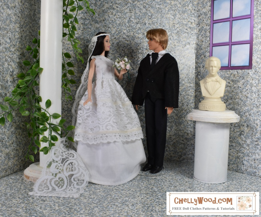"""Please visit ChellyWood.com for FREE printable sewing patterns for dolls of many shapes and sizes. Image shows Mattel's fashionista tall Barbie dressed in a wedding gown with veil and Mattel's fashionista Ken wearing a handmade felt dinner jacket with lapels, a collared dress shirt, a tie, and black pants/trousers. The two dolls stand in an elegant but simple 1:6 scale diorama that includes a window on one wall, a bust of a musician, and a pillar with climbing vines surrounding it. The two dolls seem to look at one another lovingly, as two dolls who are very much in love on their wedding day! In the lower-right corner of the image, a watermark says, """"ChellyWood.com: free printable doll clothes patterns and tutorials."""""""