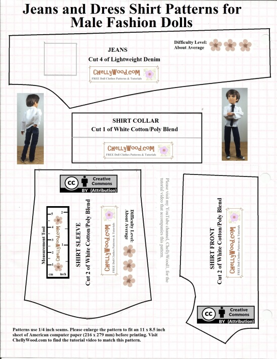 """Please visit ChellyWood.com for FREE printable sewing patterns for dolls of many shapes and sizes. Image shows a Free printable pattern for Ken doll jeans and shirt also fits other male fashion dolls like Jake and Ever After High male dolls. The shirt is designed with a collar. This pattern also comes with an accompanying diy youtube video tutorials showing you how to make this dress shirt for Ken and other male fashion dolls. The pattern includes the URL ChellyWood.com and a """"creative commons attribution"""" mark, which means you're welcome to use the pattern, but you must tell other people where your pattern came from."""