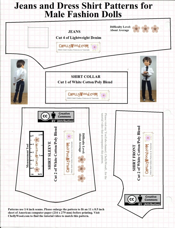 Free printable Ken #dolls clothes #sewing #patterns @ ChellyWood.com |