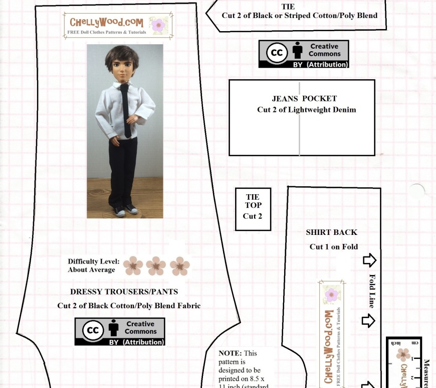 The image shows a Spin Master Jake doll from the Liv Doll collection wearing a handmade shirt, tie, and trousers / pants. This pattern is a partial pattern for the shirt, but it includes the complete pattern for the trousers and tie. Instructions include seam allowance, printing pattern instructions, and a tip for finding the tutorial video that shows you how to sew these items of clothing for male fashion dolls. This is part 1 of a two -part pattern that includes the rest of the shirt plus a free jeans pattern for male fashion dolls. The website for this free pattern is ChellyWood.com, and the heading for the free printable sewing pattern is Trousers and Dress Shirt Pattern Fits Male Fashion dolls.