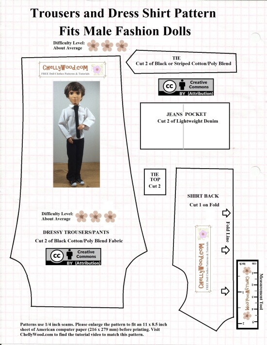 Please visit ChellyWood.com for free, printable sewing patterns to fit dolls of many shapes and sizes. Image shows a free printable sewing pattern for male fashion dolls like Mattel's Ken and Spin Master's Jake and Ever After High male dolls and Monster high male dolls. The pattern is for a pair of dress pants or slacks, a dressy collared shirt, and a tie. Additional patterns, including the pattern for the dinner jacket that goes with these can be found at ChellyWood.com where all patterns are free and printable using the Creative Commons Attribution symbol, which means you are welcome to use these patterns, as long as you tell people where you got your free patterns.