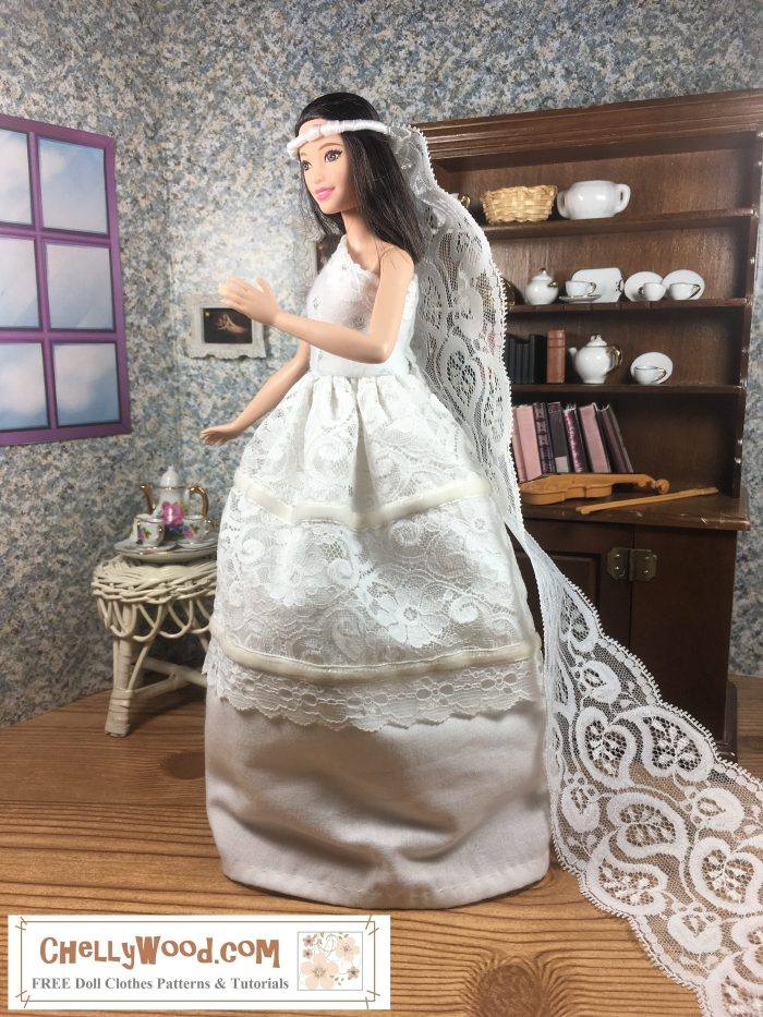 """Please visit ChellyWood.com for FREE printable sewing patterns and tutorials for making doll clothes for dolls of many shapes and sizes. Image shows Mattel's Tall Barbie from the Fashionista line wearing a hand-made white wedding gown and veil. She stands before a 1:6 scale china hutch filled with tiny pieces of white china that reflect the lovely folds of white lace, eyelet, and velvet ribbons adorning Tall Barbie's wedding dress. Her gown flows above the hard wood floor in her little diorama. Opposite the china hutch is a table holding a white tea set decorated with tiny pink flowers. Above that is a window and between the window and the china hutch, a famous painting of Romeo and Juliet hangs on the wall. Barbie wears a long veil made of lace, pipe cleaners, and ribbon. The watermark says, """"ChellyWood.com: free printable sewing patterns for dolls of many shapes and sizes."""""""
