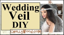 Visit ChellyWood.com for free, printable sewing patterns and tutorials for making doll clothes to fit dolls of many shapes and sizes. Image shows Mattel's tall barbie doll from the fashionista line wearing a hand-made bridal wedding veil which uses pipe cleaners (chenille stems), lace, and ribbon for the bridal veil/ wedding veil. Overlay offers the website, ChellyWood.com, where you can find free patterns and tutorials for making an entire wedding ensemble to fit Barbie, Ken, and Stacie dolls.