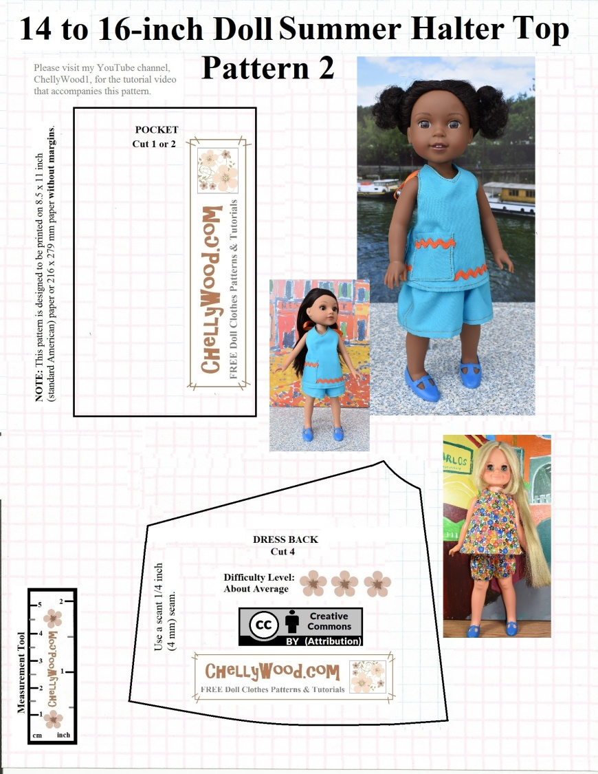"Please visit ChellyWood.com for FREE printable sewing patterns to fit dolls of many shapes and sizes. This image is a FREE Printable Summer Top for Vintage Velvet Dolls from Ideal, Wellie Wishers from American Girl, and HeartsForHearts Girls; this pattern will fit 14"" (35 cm) dolls, 15 inch (38 cm) dolls, and 16-inch (40.5 cm) dolls. It includes a watermark for the website ChellyWood.com where you can find a matching tutorial and the second pattern to this halter-style top or summer sundress or swimsuit cover-up. The URL is ChellyWood.com and it also includes a ""creative commons attribution"" mark, which means this pattern is free to print as long as you share the pattern on some form of social media, telling others where you got this free printable sewing pattern for dolls' clothes."