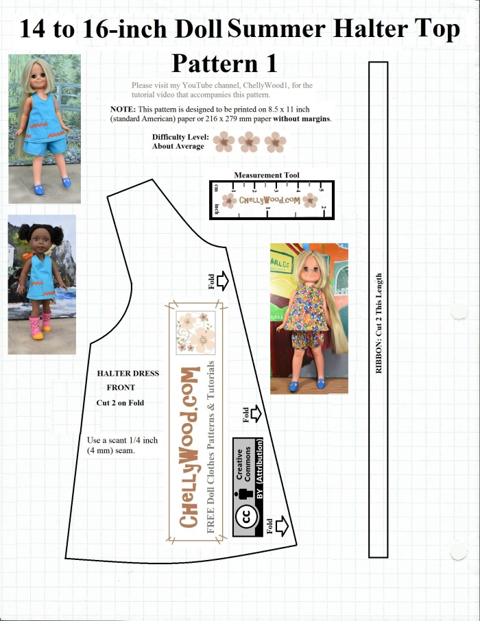 FREE #sewing pattern for 14″ (35 cm) #dolls @ ChellyWood.com #crafts |