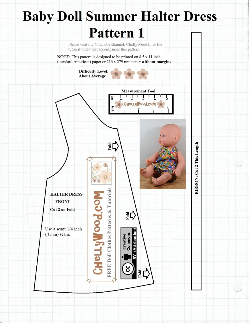 """Please visit ChellyWood.com for FREE printable sewing patterns for dolls of many shapes and sizes. This image shows a free printable sewing pattern for a doll's summer halter-style top (just the front of the shirt) and a length measurement guide for cutting ribbon that's tied in the back of the halter at the top. This pattern will fit most 12-inch baby dolls. It also fits Ideal's vintage Velvet doll from the Crissy family of dolls. The Velvet doll stands 16 inches tall (16"""" = 40.5 cm tall). For more free printable sewing patterns to fit dolls of many shapes and sizes, please visit ChellyWood.com."""