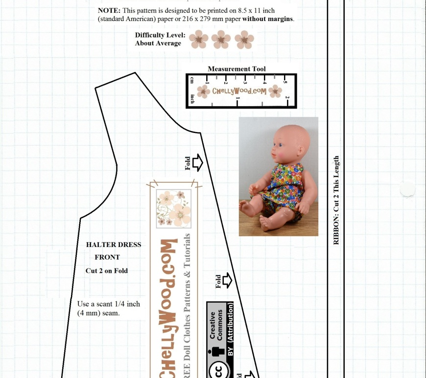 "Please visit ChellyWood.com for FREE printable sewing patterns for dolls of many shapes and sizes. This image shows a free printable sewing pattern for a doll's summer halter-style top (just the front of the shirt) and a length measurement guide for cutting ribbon that's tied in the back of the halter at the top. This pattern will fit most 12-inch baby dolls. It also fits Ideal's vintage Velvet doll from the Crissy family of dolls. The Velvet doll stands 16 inches tall (16"" = 40.5 cm tall). For more free printable sewing patterns to fit dolls of many shapes and sizes, please visit ChellyWood.com."