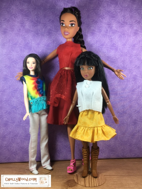 """Please visit ChellyWood.com for FREE printable sewing patterns to fit dolls of many shapes and sizes. Image shows Endless hair princess Barbie standing next to Mattel's Tall Barbie and Spin Master's Liv dolls for a comparative study of the heights of these different dolls. The dolls are all wearing hand-made doll clothes, and the watermark says, """"ChellyWood.com: free printable sewing patterns and more."""" The website does, in fact, offer free sewing patterns to fit all of these dolls, and it has free tutorial videos as well, showing how to make these doll clothes using the patterns which you can download and print for free."""