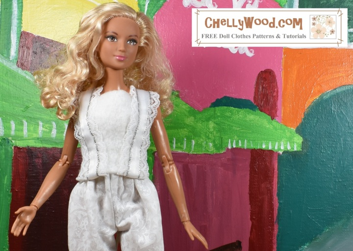 """Please visit ChellyWood.com for FREE printable sewing patterns and tutorials for dolls of many shapes and sizes. The image shows Barbie wearing a Barbie-sized felt summer top with lace straps. The overlay says, """"ChellyWood.com: FREE printable sewing patterns and tutorials for dolls of many shapes and sizes."""" This is a preview image of the doll clothes patterns and tutorials that will be posted on ChellyWood.com this week. We will learn how to sew this easy-to-make DIY summer shirt (summer top) which fits a number of 11-inch, 11 and a half inch, and 12 inch fashion dolls including Barbie, made-to-move Barbie, Tammy dolls, Curvy Barbie dolls, and MTM Curvy Barbie dolls. The Barbie doll clothes summer shirt pattern is going to be free and printable like all of my other dolls' clothes patterns."""