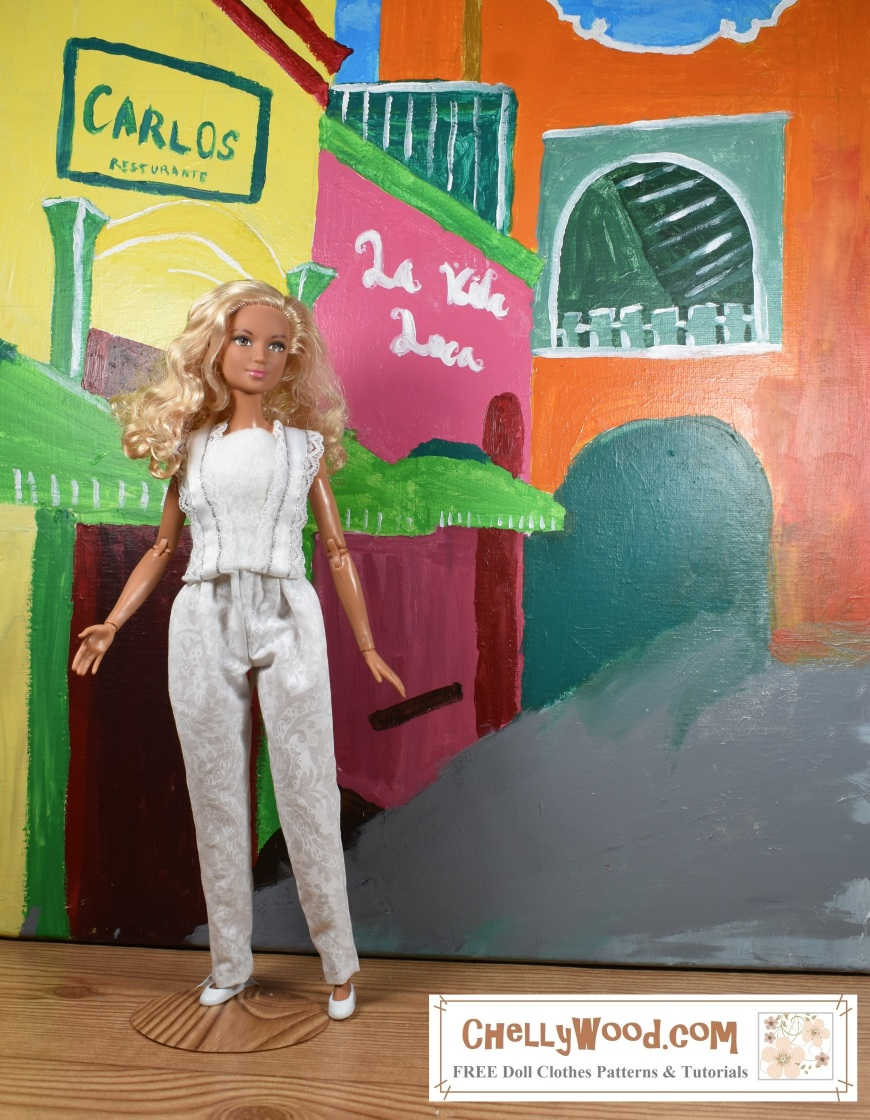 "Please visit ChellyWood.com for FREE printable sewing patterns to fit dolls of many shapes and sizes. Image shows Mattel's Made-to-Move Barbie wearing hand-made elastic-waist pants and a felt summer top with ribbon straps. She stands in front of a colorful Carribean-style cityscape. Her blond curls appear to be kissed by the sun. Overlay says, ""ChellyWood.com: free printable sewing patterns and tutorials."""