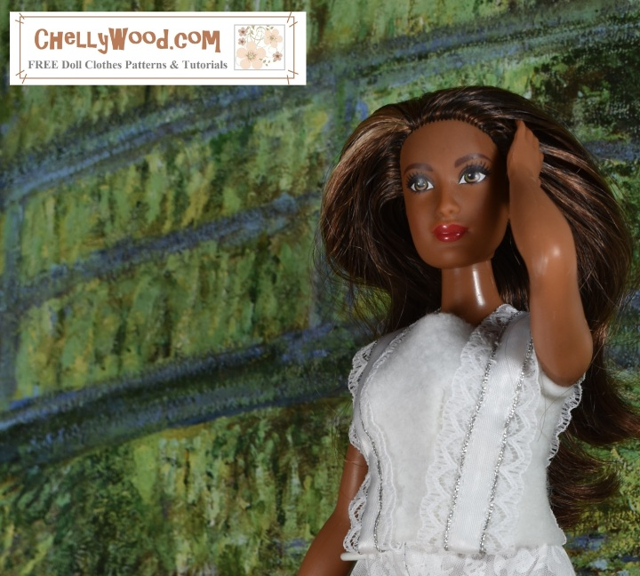 """Please visit ChellyWood.com for FREE printable sewing patterns and tutorials for dolls of many shapes and sizes. The image shows Curvy Barbie wearing a Barbie-sized felt summer top with lace straps. The overlay says, """"ChellyWood.com: FREE printable sewing patterns and tutorials for dolls of many shapes and sizes."""" This is a preview image of the doll clothes patterns and tutorials that will be posted on ChellyWood.com this week. We will learn how to sew this easy-to-make DIY summer shirt (summer top) which fits a number of 11-inch, 11 and a half inch, and 12 inch fashion dolls including Barbie, made-to-move Barbie, Tammy dolls, Curvy Barbie dolls, and MTM Curvy Barbie dolls. The Barbie doll clothes summer shirt pattern is going to be free and printable like all of my other dolls' clothes patterns."""
