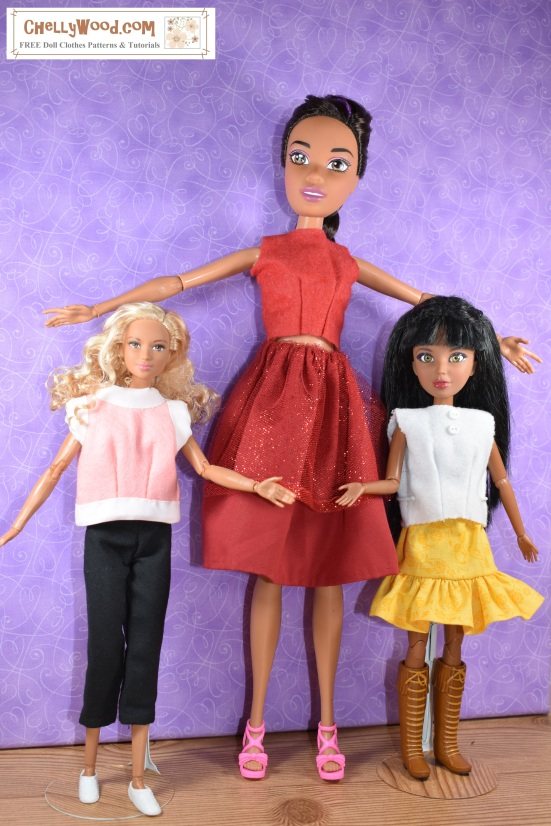 """Please visit ChellyWood.com for FREE printable sewing patterns to fit dolls of many shapes and sizes. Image shows Endless hair kingdom princess Barbie standing next to Mattel's Made to move (MTM) Barbie and Spin Master's Liv dolls for a comparative study of the heights of these different dolls. The dolls are all wearing hand-made doll clothes, and the watermark says, """"ChellyWood.com: free printable sewing patterns and more."""" The website does, in fact, offer free sewing patterns to fit all of these dolls, and it has free tutorial videos as well, showing how to make these doll clothes using the patterns which you can download and print for free."""