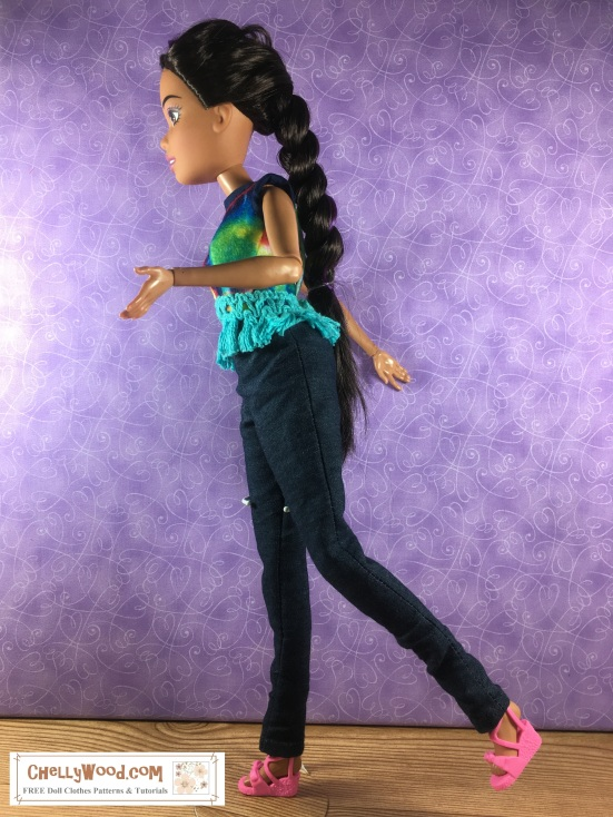 Please visit ChellyWood.com for all your doll sewing needs including free patterns and tutorials for dolls of many shapes and sizes. Image shows an Endless Hair Princess Barbie in handmade doll clothes. The image shows the doll's articulation and the length of her hair. The image is attached to a page that offers detailed information about the height and other measurements related to the Endless Hair Princess Barbie doll's body measurements.