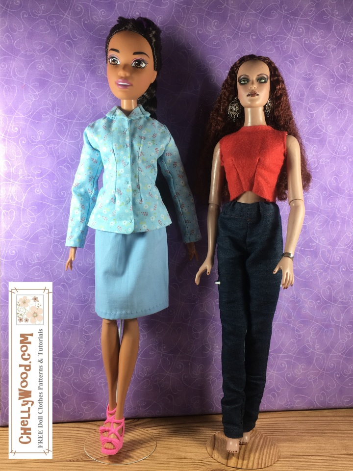 Please visit ChellyWood.com for free printable sewing patterns and tutorials for making doll clothes to fit dolls of many shapes and sizes. Image shows Endless Hair Kingdom Princess Barbie standing next to a Tonner doll. Dolls' body measurements are provided on the accompanying website, ChellyWood.com on this page.
