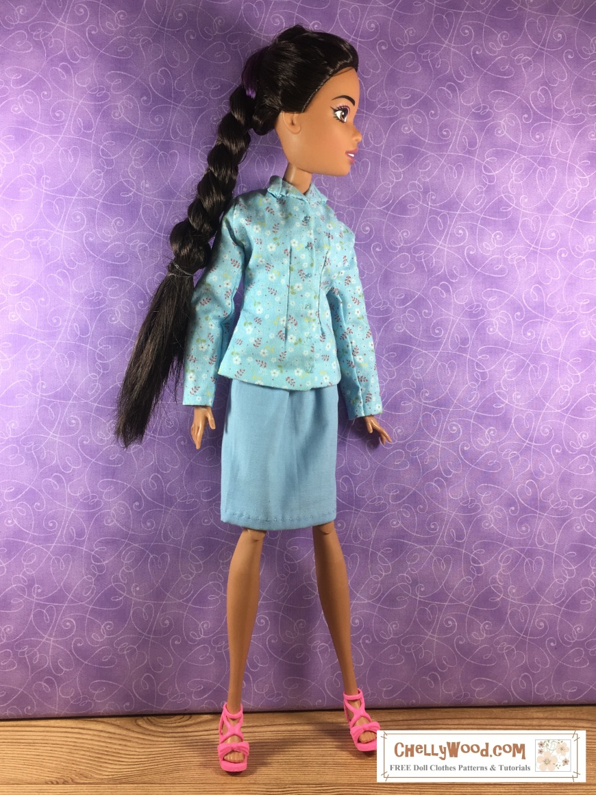 Please visit ChellyWood.com for FREE printable sewing patterns to fit dolls of many shapes and sizes. Image shows Mattel's Endless Hair Kingdom 17-inch (43 cm) Barbie doll wearing a handmade jacket with a pencil skirt. This combination outfit makes a lovely business suit. Free patterns and easy-to-follow tutorial videos for sewing these doll clothes for your Endless Hair Kingdom princess doll (17 inches tall) can be found at ChellyWood.com and the patterns are free to download and print.
