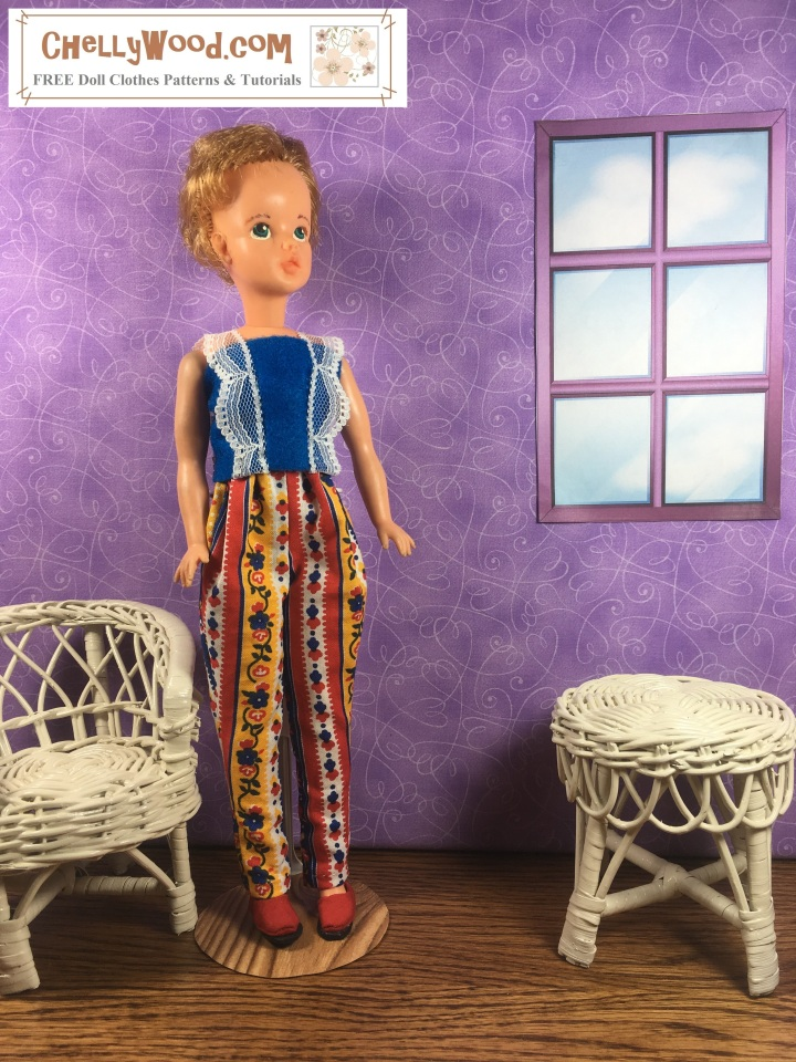 """Please visit ChellyWood.com for FREE printable sewing patterns and tutorials for dolls of many shapes and sizes. The image shows Ideal Corp.'s Tammy Doll wearing a Tammy-doll-sized felt summer top with lace straps. The overlay says, """"ChellyWood.com: FREE printable sewing patterns and tutorials for dolls of many shapes and sizes."""" This is a preview image of the doll clothes patterns and tutorials that will be posted on ChellyWood.com this week. We will learn how to sew this easy-to-make DIY summer shirt (summer top) which fits a number of 11-inch, 11 and a half inch, and 12 inch fashion dolls including Barbie, made-to-move Barbie, Ideal Tammy dolls, Curvy Barbie dolls, and MTM Curvy Barbie dolls. The Barbie doll clothes summer shirt pattern is going to be free and printable like all of my other dolls' clothes patterns."""