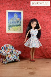 Follow this link for free printable patterns to make the dress shown on this doll: https://wp.me/p1LmCj-FKo