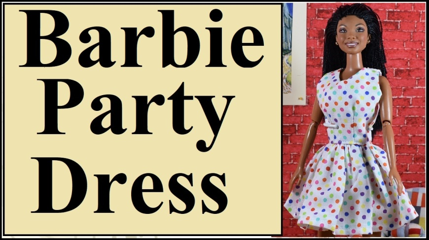 """Please visit ChellyWood.com for FREE printable sewing patterns for dolls of many shapes and sizes. The image shows a Mattel Barbie doll wearing a polka dot party dress with a summer sleeveless style and pretty flouncy skirt. This youtube video header links to a tutorial video showing how to use Chelly Wood's free printable sewing pattern to make a dolls dress to fit Mattel's Barbie (including both the vintage dolls with bigger chests /busts, and the more modern dolls with smaller chest /bust. Overlay says """"Barbie party dress."""""""