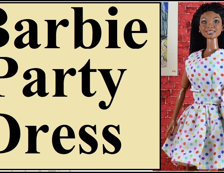 "Please visit ChellyWood.com for FREE printable sewing patterns for dolls of many shapes and sizes. The image shows a Mattel Barbie doll wearing a polka dot party dress with a summer sleeveless style and pretty flouncy skirt. This youtube video header links to a tutorial video showing how to use Chelly Wood's free printable sewing pattern to make a dolls dress to fit Mattel's Barbie (including both the vintage dolls with bigger chests /busts, and the more modern dolls with smaller chest /bust. Overlay says ""Barbie party dress."""