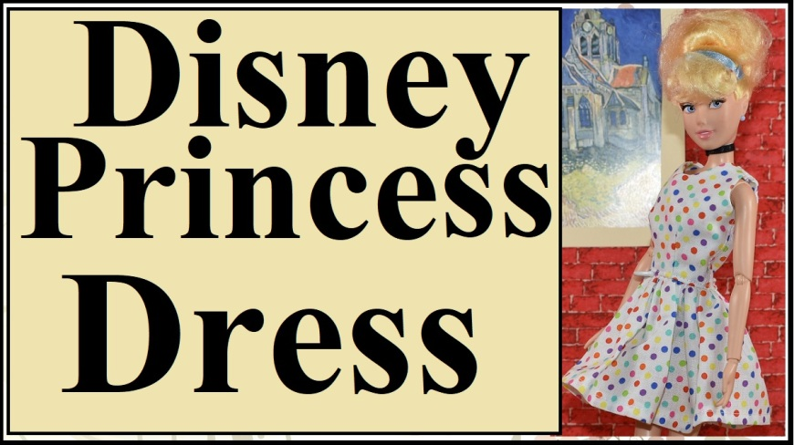 """Visit ChellyWood.com for free printable sewing patterns to fit dolls of many shapes and sizes. ChellyWood.com offers free printable sewing patterns to sew doll clothes for Disney Princess fashion dolls like the one shown in this images: Cinderella. The image shows the Cinderella doll from the Disney Princess line of dolls wearing a hand-made summer dress in party polka dots. She stands before a Van Gogh painting of a cathedral (hanging on a brick wall in 1:6 scale). The overlay says """"Disney princess dress."""""""