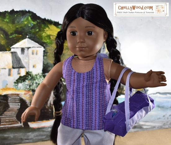 """This image shows an American Girl doll (18 inches tall) wearing a hand sewn summer shirt. This and other free printable sewing patterns for American Girl dolls are found right here at ChellyWood.com. These are for the 18"""" dolls but there are more free printable sewing patterns for Wellie Wisher AG dolls at ChellyWood.com too."""
