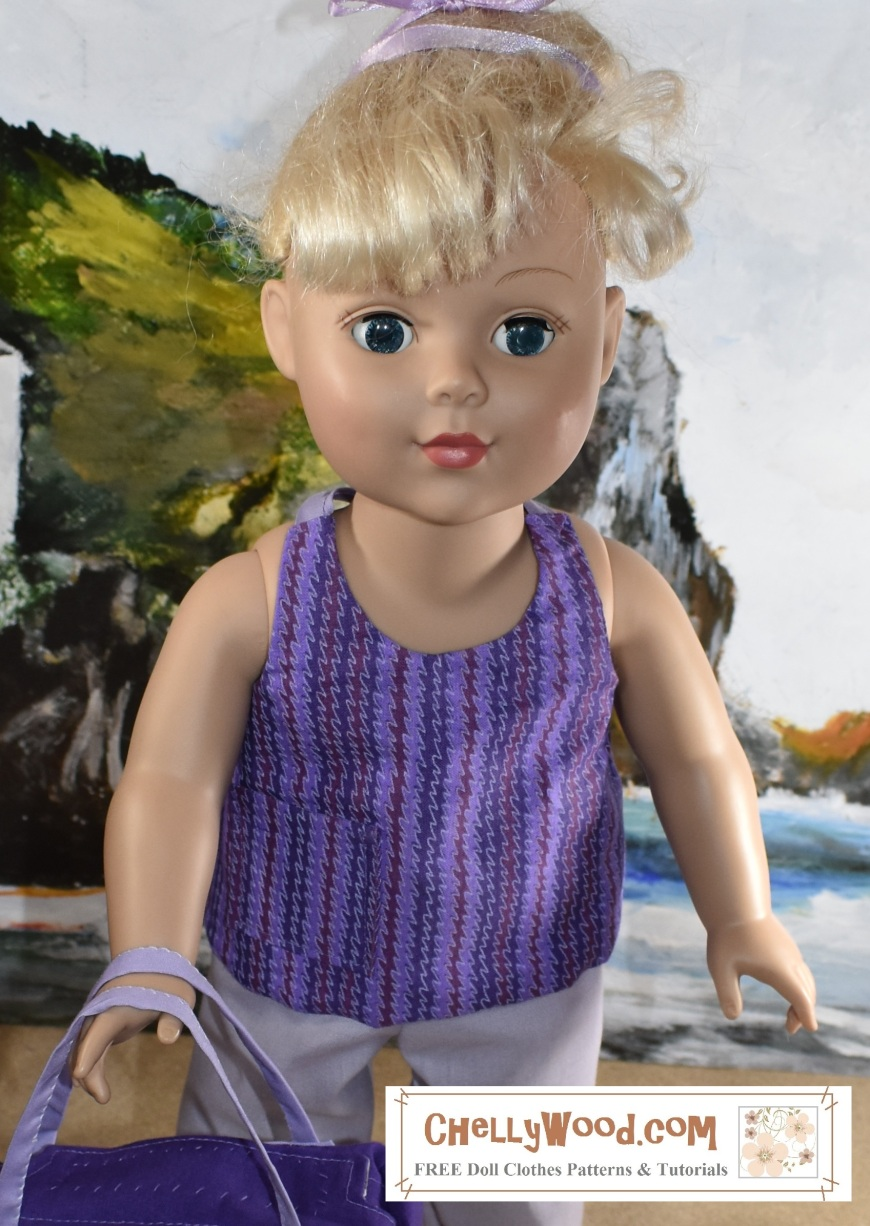 "Image shows the 18"" or 46 cm doll from the Madame Alexander Doll company wearing a handmade halter top or tie-in-back summer shirt. In the front it looks a lot like a tank top but it's really easy to sew. The image is a close-up which highlights the features of the summer shirt including one pocket and a ribbon tie at the neck. She stands on a sandy beach with a seascape behind her including rocky cliffs and rolling waves. This 18 inch or 46 cm Madame Alexander Doll is getting ready to have some fun at the beach today. The header for the image says, ""Summer Shirt Pattern for Madame Alexander Dolls"" and the watermark says, ""ChellyWood.com: FREE doll clothes patterns and tutorials."" In fact, if you go to ChellyWood.com, you can download the free, printable sewing pattern for this summer tank top style shirt and the other Madame Alexander -sized doll clothes patterns for the other items of clothing, and all patterns at ChellyWood.com are free and come with a free tutorial video showing how to make the clothing item (including this summer shirt for dolls)."
