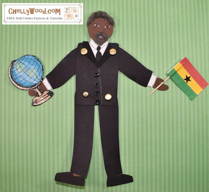 Image shows a hand-made paper puppet which was designed to look like Kofi Annan the former UN Secretary General. He wears a suit and tie, and he holds a flag of Ghana in one hand and a globe in the other. The watermark offers the url ChellyWood.com where free doll patterns (and this free paper doll or puppet pattern) are available for printing.