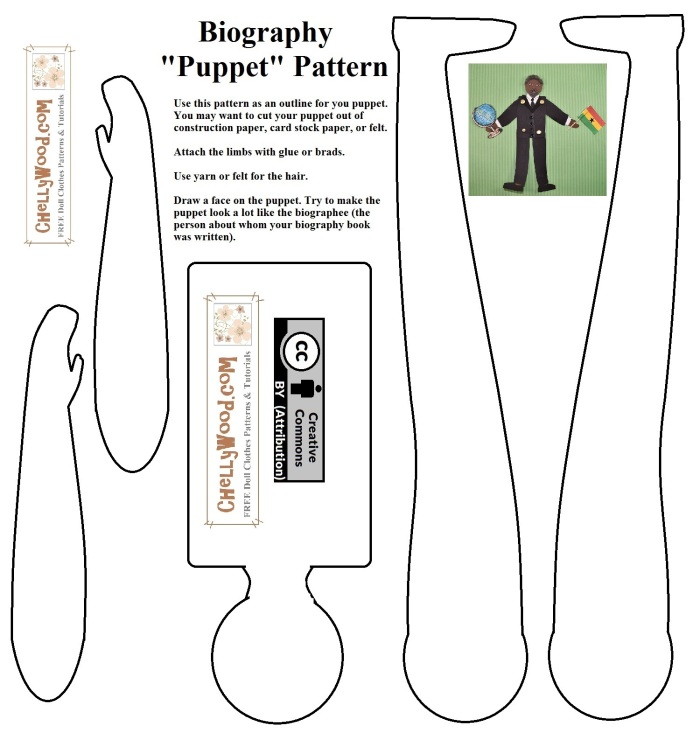 """The image shows a paper doll or jointed puppet pattern for use with biographies in a school classroom. The image says """"Biography 'Puppet' Pattern"""" and offers brief instructions. There's a watermark on the pattern offering the URL ChellyWood.com, and the pattern itself is marked with a """"Creative Commons Attribution"""" symbol."""