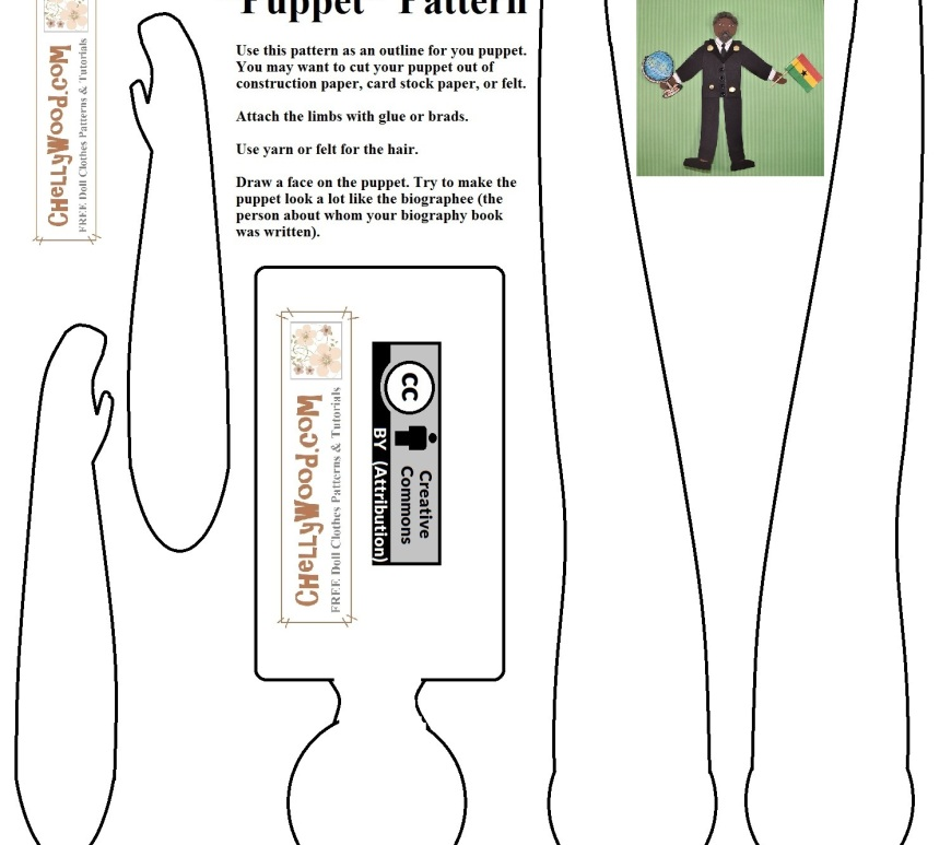 "The image shows a paper doll or jointed puppet pattern for use with biographies in a school classroom. The image says ""Biography 'Puppet' Pattern"" and offers brief instructions. There's a watermark on the pattern offering the URL ChellyWood.com, and the pattern itself is marked with a ""Creative Commons Attribution"" symbol."