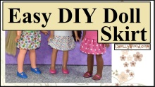 """The image shows a hand-made doll skirt in three different fabric patterns. One pattern is floral; another uses tiny rainbow-colored polka dots, and the third is pink with larger white polka dots. The dolls wearing these skirts are (in the same order as the description of each skirt) a 16-inch Velvet doll from the Ideal Toy Company (vintage doll from the 1970's), Consuelo the Hearts-for hearts girl doll who stands at 14 inches tall, and the 15-inch Wellie Wisher doll called Kendall (made by the American Girl doll company). The overlay on the photo says """"Easy DIY doll skirt"""" and offers the website ChellyWood.com where the free patterns for making this back-to-school mini-skirt can be downloaded and printed for free."""