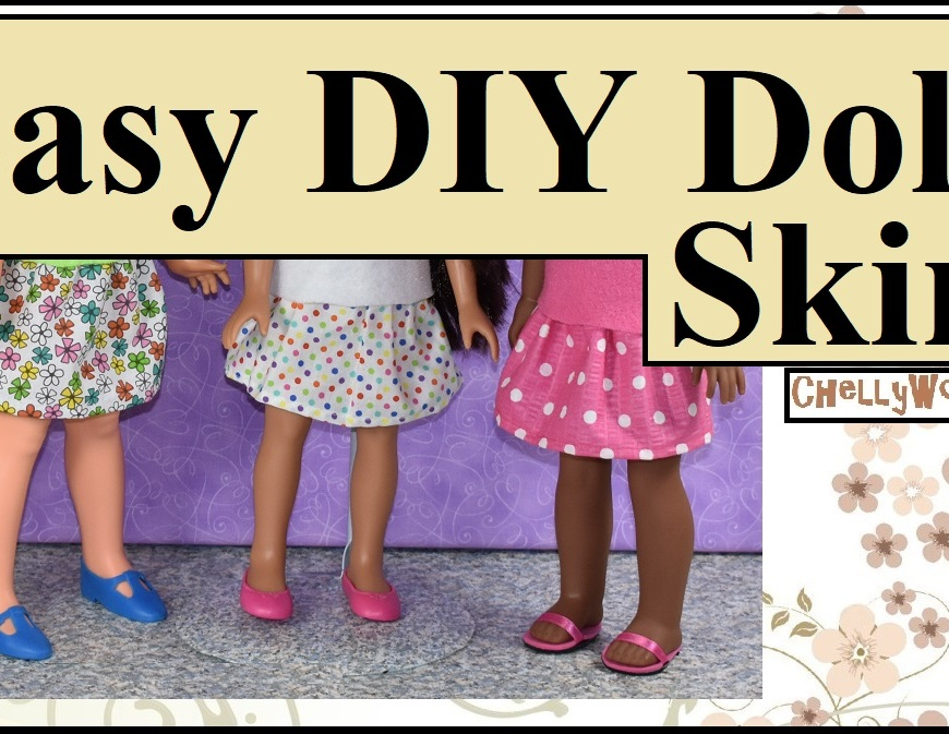 "The image shows a hand-made doll skirt in three different fabric patterns. One pattern is floral; another uses tiny rainbow-colored polka dots, and the third is pink with larger white polka dots. The dolls wearing these skirts are (in the same order as the description of each skirt) a 16-inch Velvet doll from the Ideal Toy Company (vintage doll from the 1970's), Consuelo the Hearts-for hearts girl doll who stands at 14 inches tall, and the 15-inch Wellie Wisher doll called Kendall (made by the American Girl doll company). The overlay on the photo says ""Easy DIY doll skirt"" and offers the website ChellyWood.com where the free patterns for making this back-to-school mini-skirt can be downloaded and printed for free."