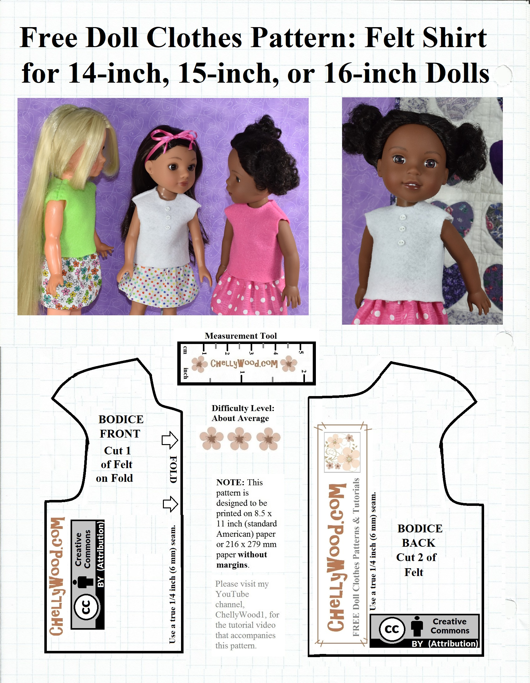 picture about Free Printable Felt Doll Patterns identified as Totally free printable sewing behaviors for 14-inch, 15-inch, and 16