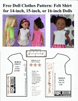 Free #sewing pattern for a #felt shirt to fit 14 inch, 15 inch, and 16 inch #dolls @ ChellyWood.com
