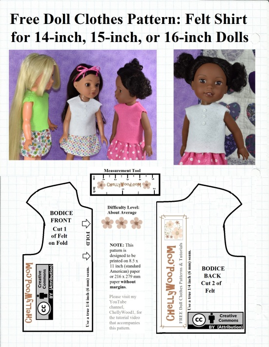 """This image is a free printable doll clothes pattern for making a felt shirt that will fit 14 inch dolls like the Hearts for Hearts girl dolls, 15 inch dolls like the Wellie Wisher dolls from American Girl doll company, and 16 inch dolls like the Velvet doll that belongs to the Ideal toy company's Crissy doll family of dolls. This pattern is free and has been marked with the """"Creative Commons Attribution"""" symbol, which means you're welcome to use this pattern and adapt it, but you need to give credit to ChellyWood.com where you found the original pattern. The dolls shown wearing this free doll clothes shirt pattern are Velvet 16 inch doll, Consuelo 14 inch doll and Kendall the 15 inch doll."""