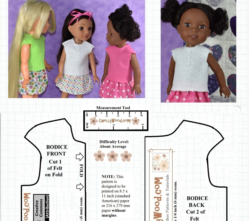 "This image is a free printable doll clothes pattern for making a felt shirt that will fit 14 inch dolls like the Hearts for Hearts girl dolls, 15 inch dolls like the Wellie Wisher dolls from American Girl doll company, and 16 inch dolls like the Velvet doll that belongs to the Ideal toy company's Crissy doll family of dolls. This pattern is free and has been marked with the ""Creative Commons Attribution"" symbol, which means you're welcome to use this pattern and adapt it, but you need to give credit to ChellyWood.com where you found the original pattern. The dolls shown wearing this free doll clothes shirt pattern are Velvet 16 inch doll, Consuelo 14 inch doll and Kendall the 15 inch doll."