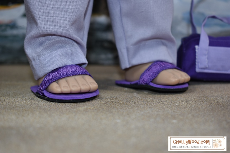 """Image shows a pair of sandals worn on the feet of a 46 cm Madame Alexander doll with the watermark """"ChellyWood.com"""" which also says """"free patterns and tutorials"""". This image accompanies a series of free patterns and tutorials for making a pair of AG doll (American Girl doll), Madame Alexander doll, Wellie Wisher doll, Hearts for Hearts girl dolls (Hearts4Hearts girls), Velvet and Crissy dolls, and many other dolls in the 14-inch, 15-inch, 16 inch, 17 inch, and 18 inch doll size range. This image was posted on the Monday before the release of the FREE printable pattern and easy-to-follow DIY tutorial showing how to make doll sandals from foam, ribbon, bias tape, glue, and /or elastic ribbons. ChellyWood.com offers lots of free printable patterns for doll clothes, doll shoes, doll sandals, and so much more. Each pattern comes with a youtube tutorial that shows you exactly how to make the item of doll clothes. So please visit ChellyWood.com for FREE printable doll clothes /doll shoes/ doll sandals patterns and tutorials."""