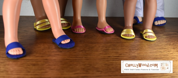 The image shows different sized dolls wearing our foam and ribbon, foam and bias tape, foam and elastic strappy sandals. This sandal pattern is free and printable at ChellyWood.com. Dolls pictured here include the Velvet doll from the Crissy family of dolls, Kaya from the American Girl doll collection, Consuelo from the Hearts for Hearts girls dolls, the Wellie Wisher doll named Kendall from American girl, and a Madame Alexander doll of the 46 cm variety. Most of these dolls stand 14 inches, 15 inches, 16 inches, 17 inches or 18 inches tall. There are two sandal patterns available, and you'll want to choose the pattern for sandal making that is closest to your doll's actual foot size. Free patterns are accompanied by a free tutorial video showing how to make these easy craft project doll sandals. Watermark offers the website: ChellyWood.com