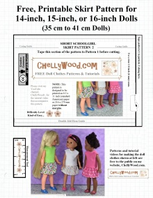 """The pattern displayed on this page is designed to fit the 14-inch Hearts4Hearts Girl doll, the 15-inch Wellie Wisher doll, and the 16-inch Crissy/Velvet doll from Ideal (Crissy's cousin). This skirt pattern uses an elastic waist and can be sewn using cotton, polyester, denim, or other fabrics. It's a versatile pattern for dolls, fitting dolls of many shapes and sizes. The pattern is one of two free patterns which must be cut out and taped together before you use the pattern for making a doll's """"schoolgirl"""" style skirt for back to school. These and many other patterns are free at ChellyWood.com, as they use the """"creative commons attribution"""" symbol."""