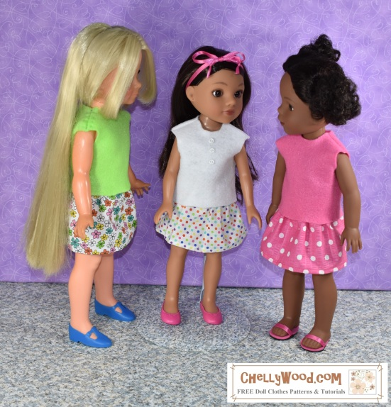 The image shows the Hearts for Hearts Girl doll named Consuelo wearing a hand-made short sleeved shirt and miniskirt. She has a pink ribbon in her hair, and she's visiting with her friends, fellow dolls who are also wearing handmade shirts and skirts for 14 inch dolls and dolls in that size range. Free patterns for sewing these doll clothes to fit 14-inch dolls are available to download and print at ChellyWood.com.